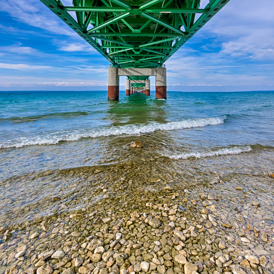 Below the Mackinac Bridge in northern Michigan
