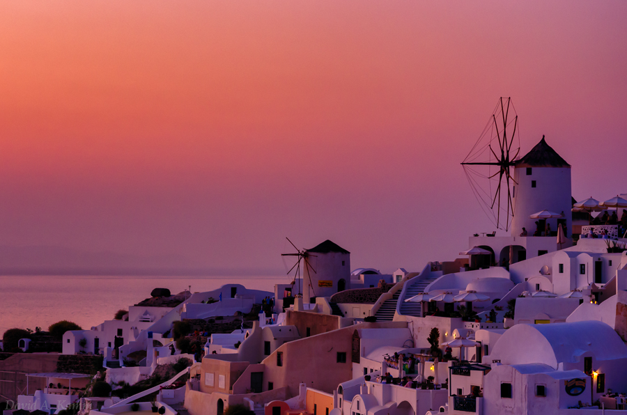 Sunset in the Village of Oia (Santorini, Greece)