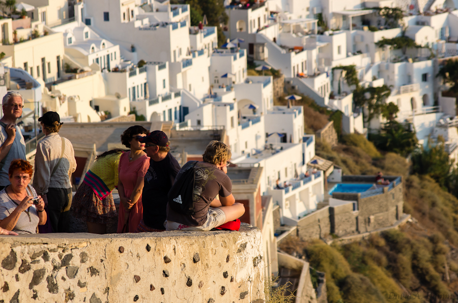 Santorini Overlook and Tourists