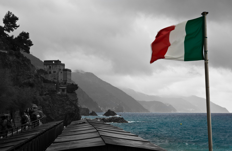 Cinque Terre Coastline on a Dark Cloudy Day - Italy