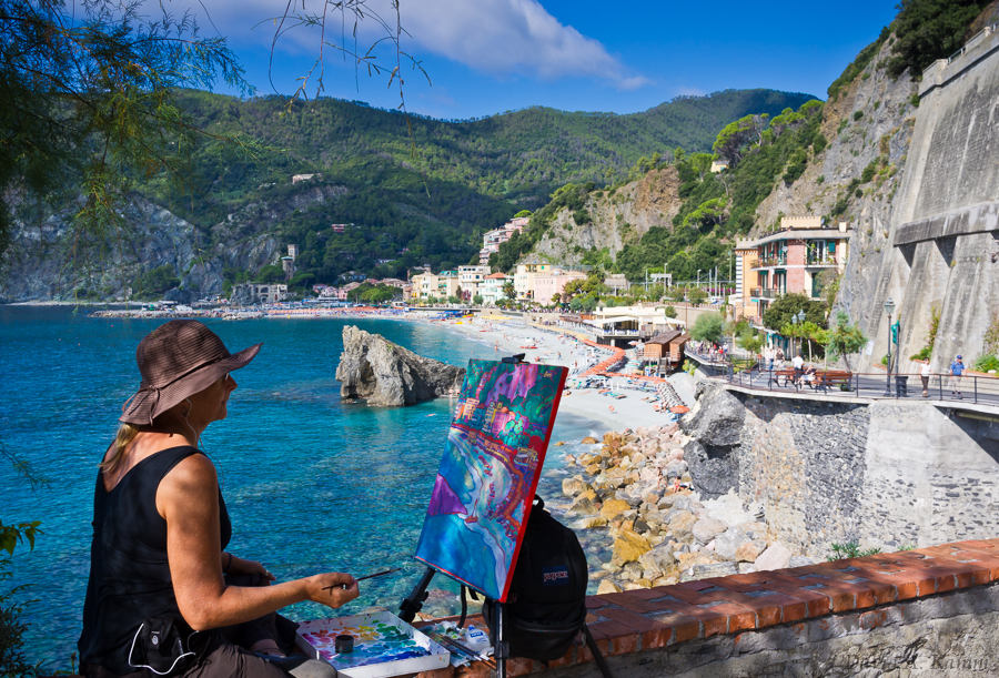 Painter Outside Monterosso al Mare - Cinque Terre, Italy