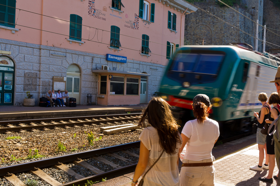 Local Train in Riomaggiore - Cinque Terre, Italy