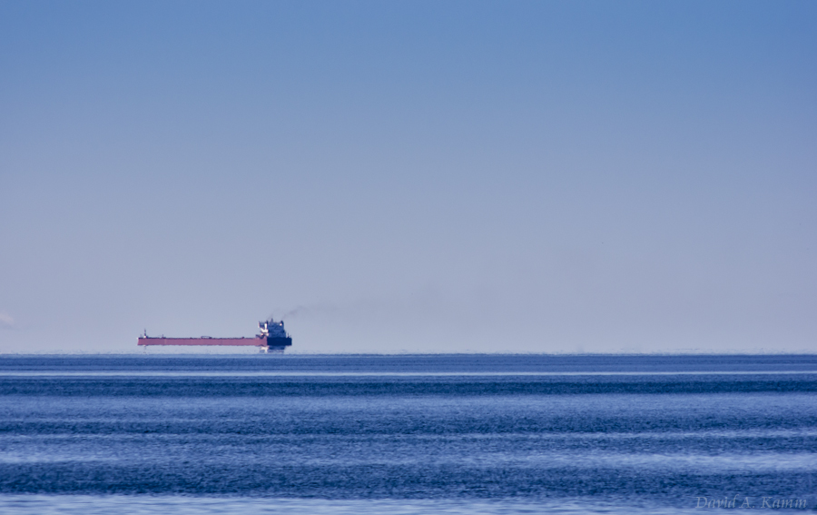 Freighter in Straits of Mackinac - Northern Lake Michigan