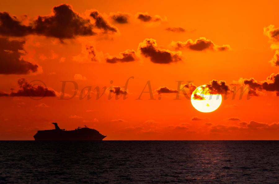 Carnival Triumph at Sunrise Near Cozumel Mexico