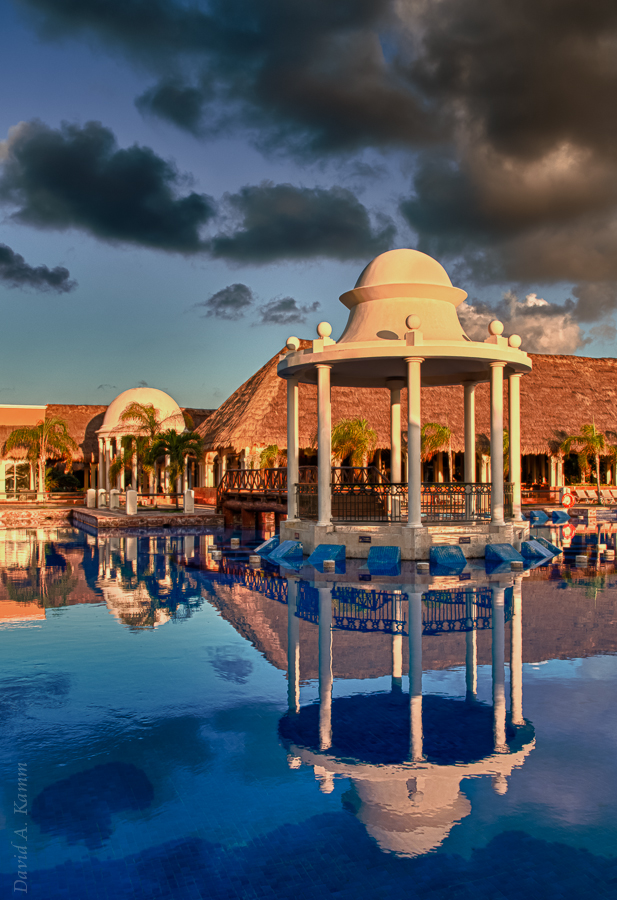 Poolside Reflections at Sunrise (1) - Riviera Maya, Mexico