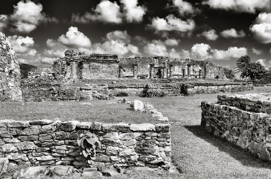 Mayan Ruins in Tulum - Black & White